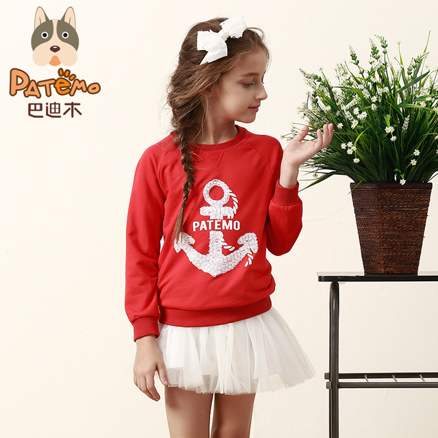 PATEMO Girls O-neck Pullover Full Sleeves Red Spring/Autumn Children Girl Hoodies Rib Neck and Cuff  Fashion Sweatershirts
