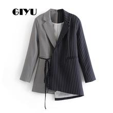 GIYU Autumn Women Patchwork Striped Blazer Long Sleeve Jackets Pockets Irregular Office Lady Casual Tie-up Bow camiseta mujer