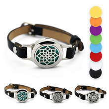 BOFEE Stainless Steel Aromatherapy Essential Oil Locket Bracelet Diffuser Aroma Magnetic Leather Lotus Flower Jewelry Gift 25mm