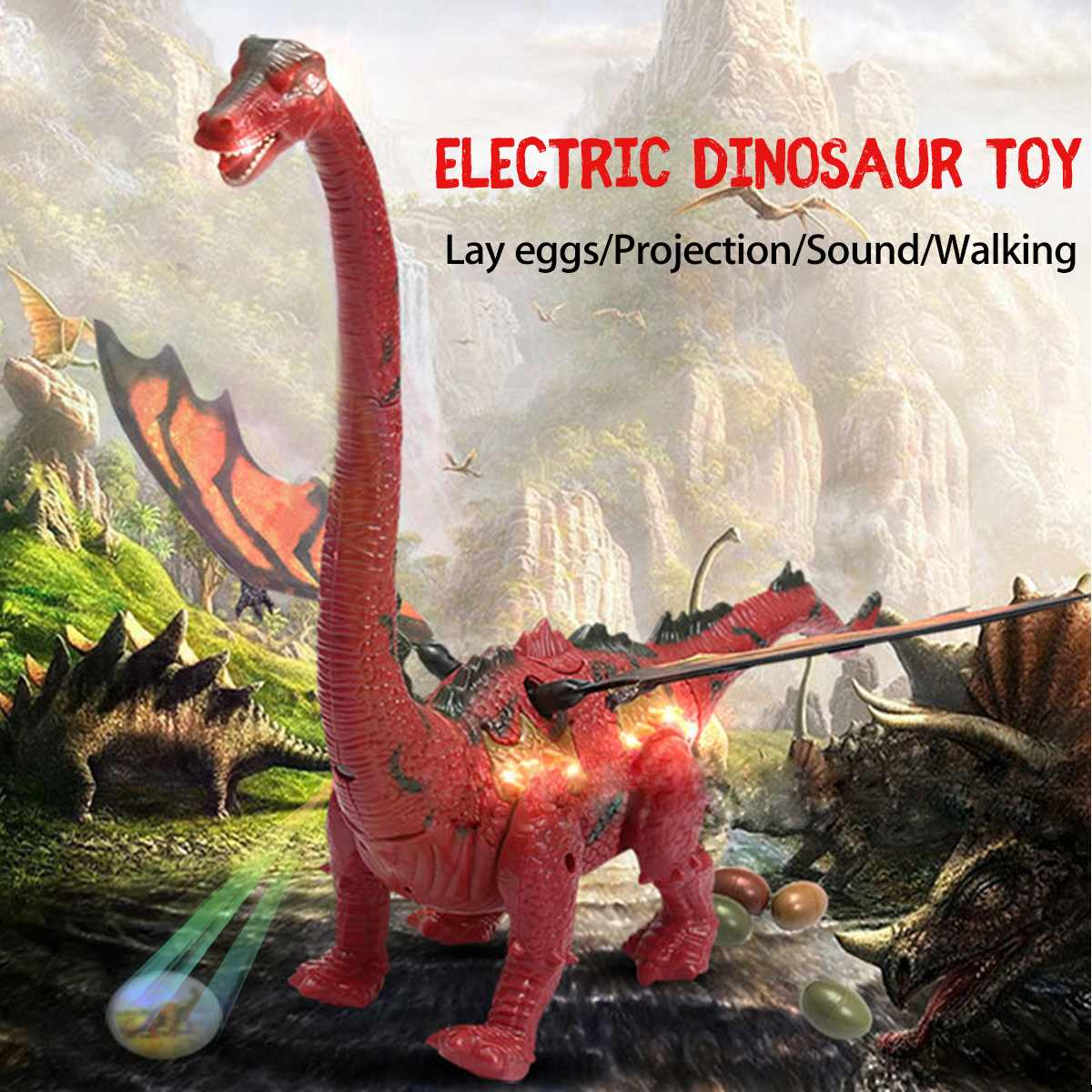 Electric Walking Dinosaur Toy Lay Eggs Projection Lights Roar Sounds Kids Gifts