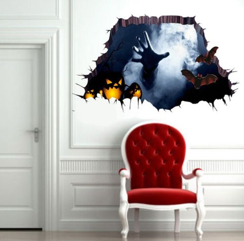 US $1 61 22% OFF|Faroot 3D Creative Halloween Scared Vinyl Home Room Decor  Art Quote Wall Decal Floor Stickers Bedroom Removable Mural Hot New-in Wall