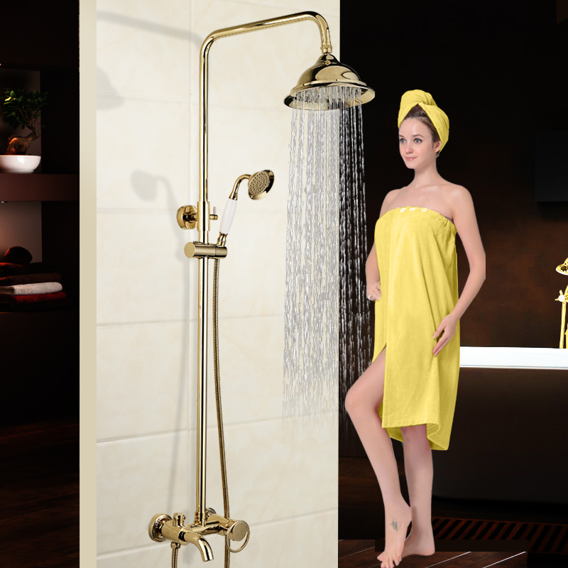 Luxury New Arrival Shower Set Gold Brass Rainfall Shower Faucet+Tub Mixer Tap+Hand held Shower Bath and shower faucet