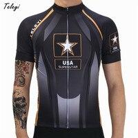Teleyi Bisiklet Jersey Erkekler 2017 ABD Ordusu Tarzı Bisiklet Giyim Nefes mtb Bisiklet Jersey Bisiklet Giyim Ropa Ciclismo Hombre