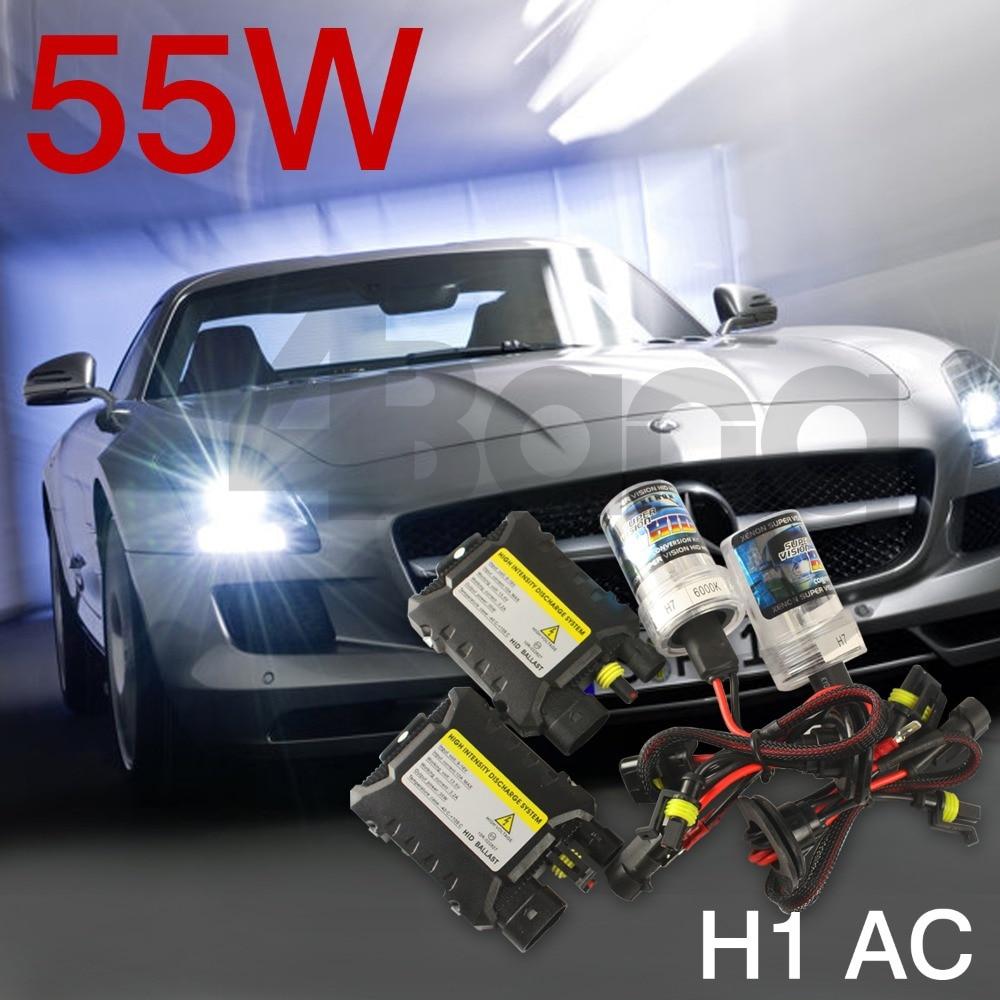 ФОТО Free Shipping Xenon HID Kit Auto Car Headlight Slim Ballast 55W H1 AC Xenon Bulb 4300K 6000K 8000K 10000K 12000K 12V