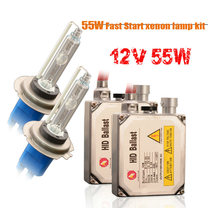 1 set H7 xenon HID kit 55W for car headlight H1 H3 H4 H8 H9 H11 9005 HB3 9006 HB4 881 H27 lamp 6000K Xenon bulb