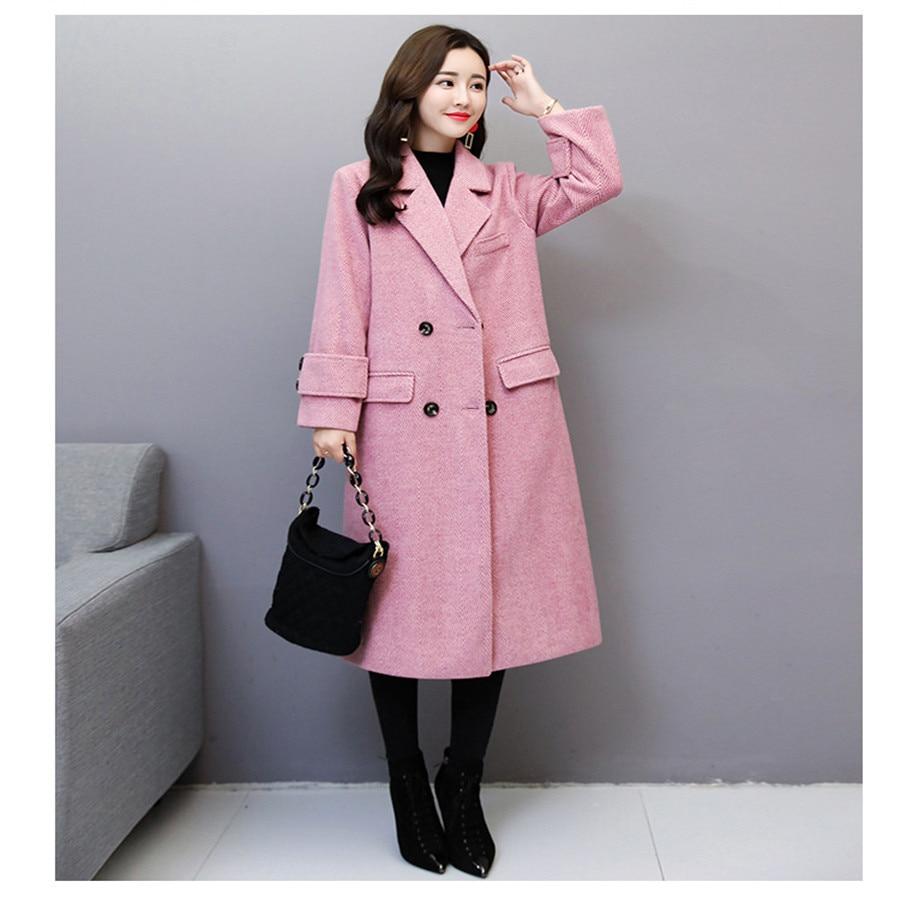 2019 Long Version Boutonnage De À La pink camel Femmes Laine Slim Blue Double Manteau Hiver Carreaux Coréenne Nouvelle BqwBr