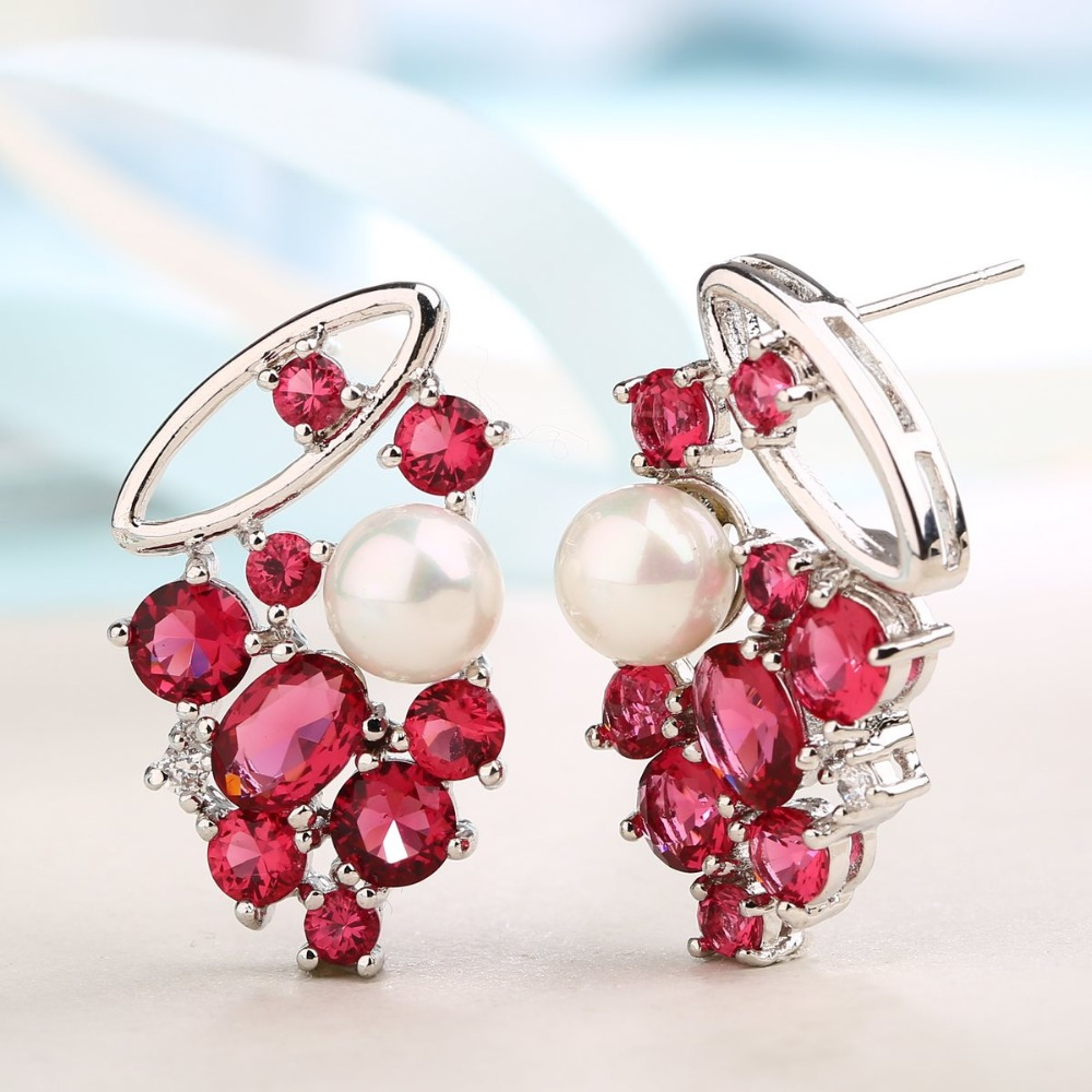 ZHE FAN Rose Rouge Boucle D'oreille Pour Les Femmes AAA Cubique Zircone Blanc Rond Simulé Perle Boucles D'oreilles De Luxe Bijoux De Mariage Partie 4 griffe