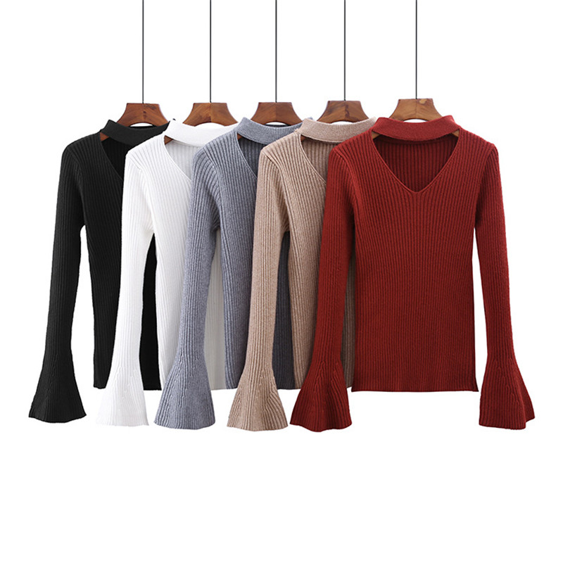 Drop Shipping Women V Neck Trumpet Sleeves Knitted Sweater Warm Pullover Fashion Blouses