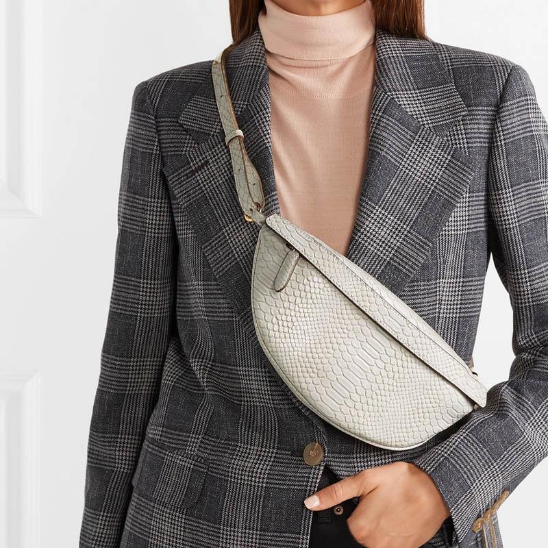 Chest Bag Women Leather Serpentine Waist Bag Retro Snak Skin Shouder Bag Female Travel Travel Zip Fanny Pack