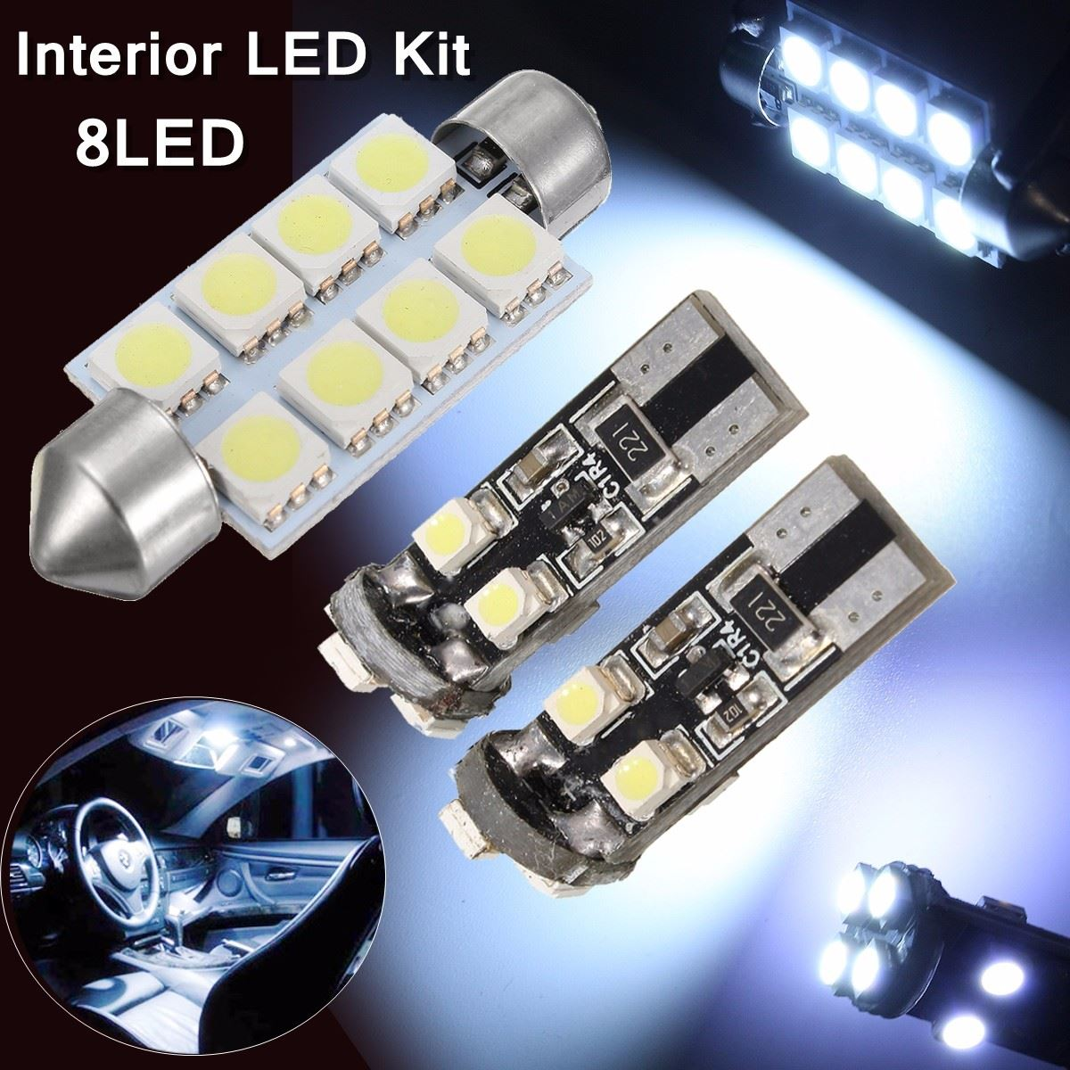 3Pcs Car Auto  LED T10 SMD 5050 W5W LED Car Side Wedge Tail Dome Reading Light Lamp Festoon Bulb For VW T5 Transporter 100pcs lot car auto led t10 5050 w5w 5 smd 194 168 led white car side wedge tail light lamp bulb 12 30m sticker on carvoiture