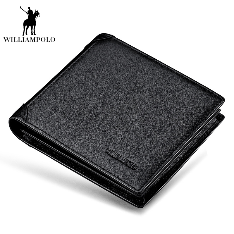 Genuine Leather 3 Bifold Wallet Mens Brand Europen and American Style Small Wallet Short Design Cowhide Coin Purse Card Holder williampolo mens mini wallet black purse card holder genuine leather slim wallet men small purse short bifold cowhide 2 fold bag