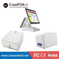 ComPOSxb High Quality 15 Inch Dual Touch Screen POS System Computer Monitor With Cashbox And Printer