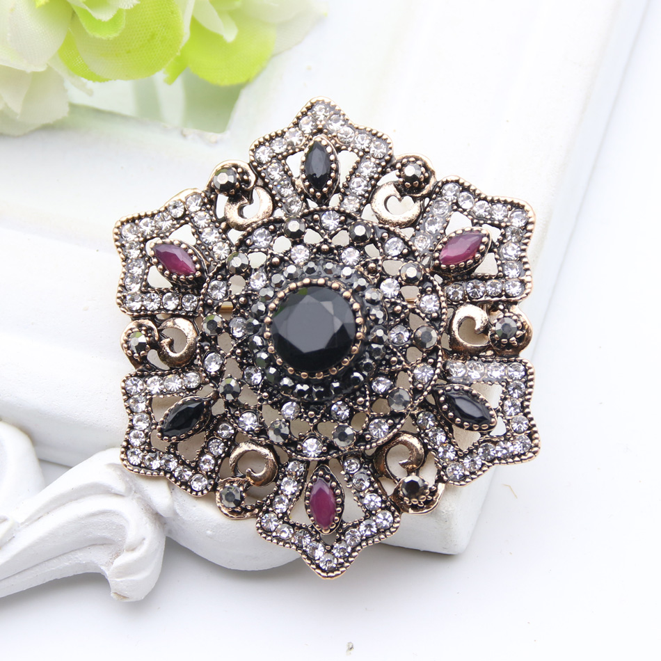 Vintage Turkish Brooch Pendant Dual-Purpose Women Ethnic Jewelry Retro Gold Color Flower Rhinestone Brooches Broches Hijab Pin