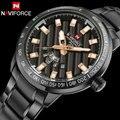 Homens sports watch men quartz watch naviforce marca negócio de aço calendário relógio à prova d' água relógios de pulso novo preto reloj hombre