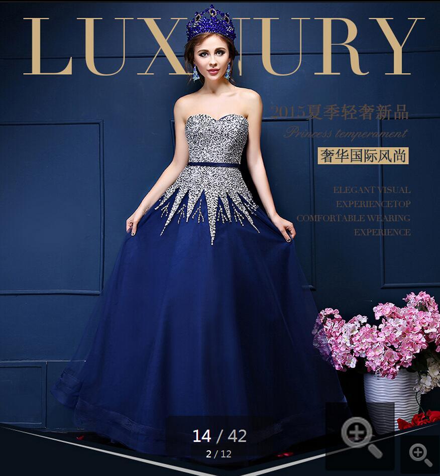 2016 nouveauté une ligne bleu perles paillettes robes de soirée ceintures bretelles avec chérie cou robe de soirée paillettes