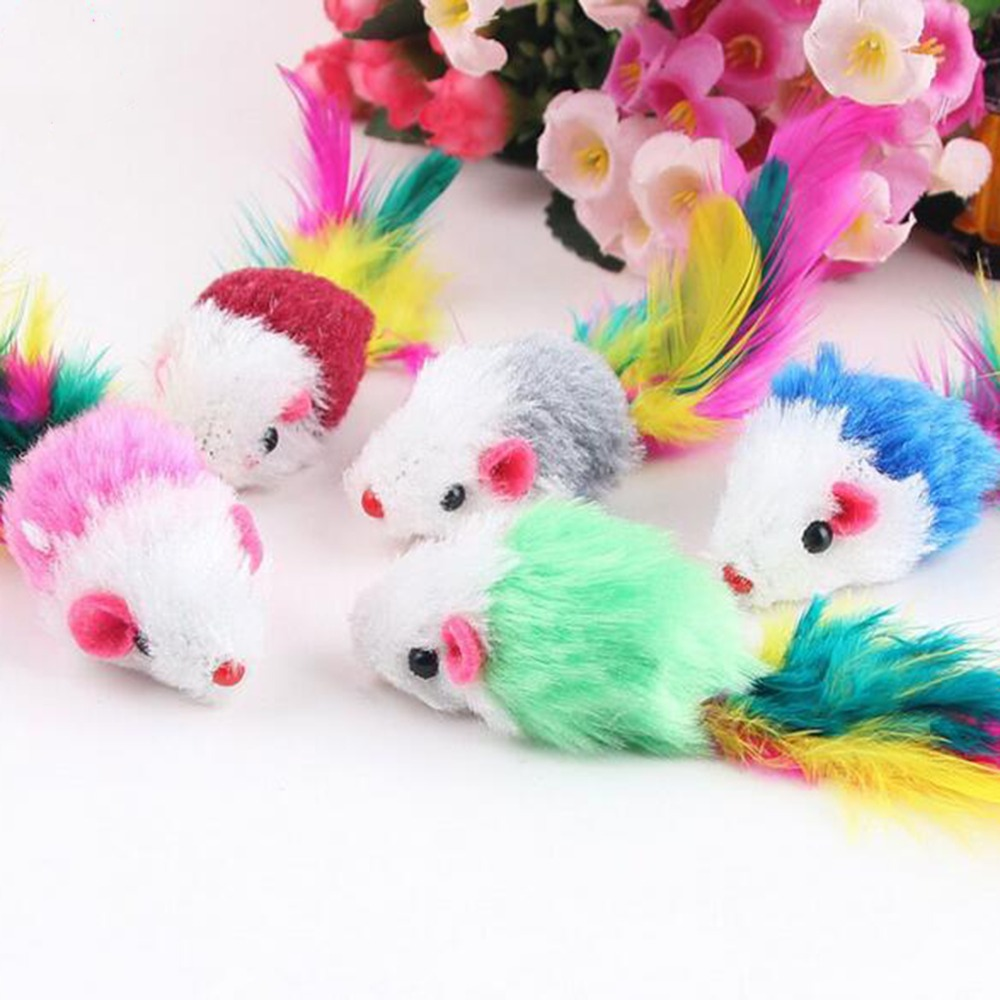 YVYOO 10Pcs/lot Soft Fleece False Mouse Cat Toys Colorful Feather Funny Playing Toys For Cats Kitten C03