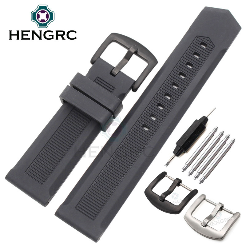 HENGRC Rubber Watchband 22mm Men Black Sport Diving Silicone Watch Band Strap Stainless Steel Metal Pin Buckle Bracelet
