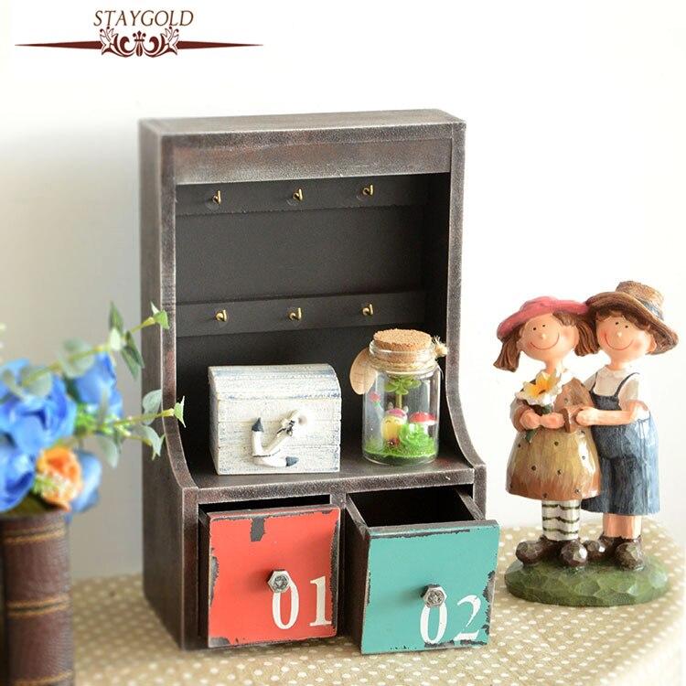Retro Key Storage Box Wood Box Desk Organizer Jewelry Box Organizer Vintage Wooden Box Drawer Organizer 19*30*10CM