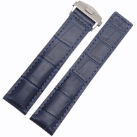 New Arrival Watchband Blue Bracelets 20mm 22mm Genuine Leather Watch Strap ForTAG With Deployment Steel Clasp