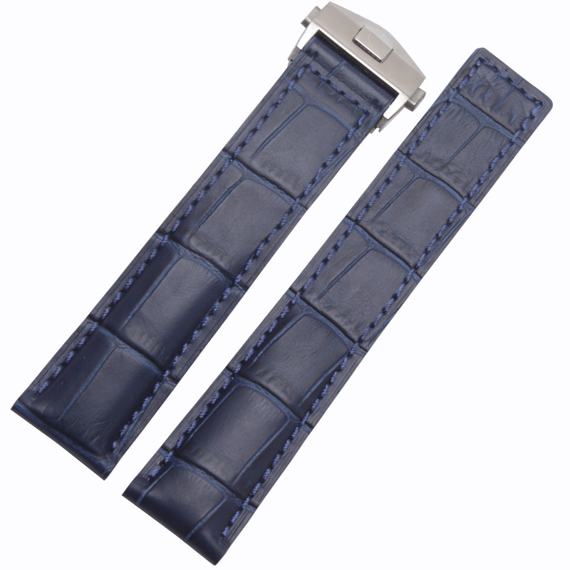 New Arrival Watchband Blue Bracelets 20mm 22mm Genuine leather Watch Strap forTAG with deployment steel clasp cowhide leather alligator leather watchband brand style straps bracelets wristwatches accessories with free buckle deployment 20mm 21mm 22mm new