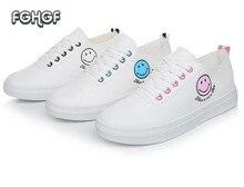 Женщины Вышивка Улыбка Emoji обувь Femme мягкие белые повседневные туфли; feminino эспадрильи tufli милые школьные туфли sapatilhas Mulher
