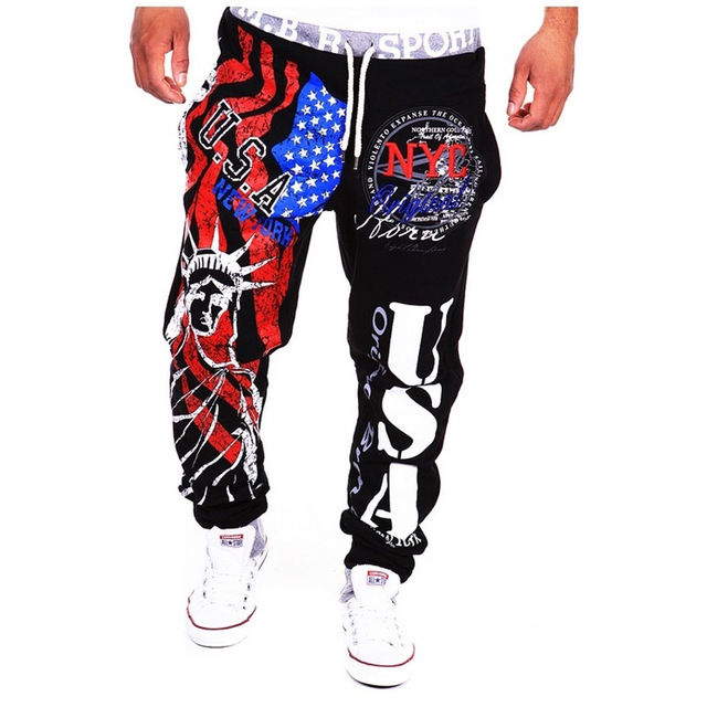 2017 nuevos hombres joggers impresión Pantalones casuales hombres EE.UU. Imprimir Harem Pantalones de Chándal pantalón Masculino Pantalones Hombres pantalon homme hombre