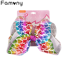 7 Large Mermaid Leather Jumbo Bow With Hair Clip For Girls Kids Handmade Cute Pineapple Metalic Knot Accessories