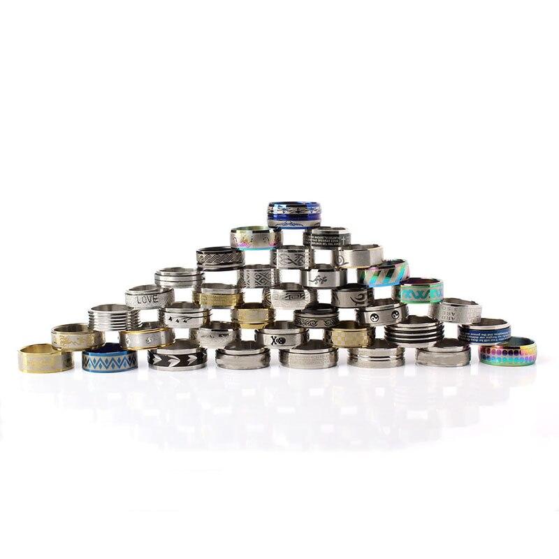 Image 4 - Оптовая продажа 100 шт смешанные стили мужские женские кольца на палец из нержавеющей стали ювелирные кольца серебряные кольца США Размер: 5,5 10 anillo de dedo-in Кольца from Украшения и аксессуары