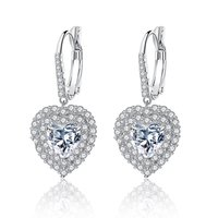 Shiny Heart Shape Ear Stud Elegant Cubic Zircon Ear Pendant Exquisite Female Earbob Delicate Ear Stud Girls Jewelry