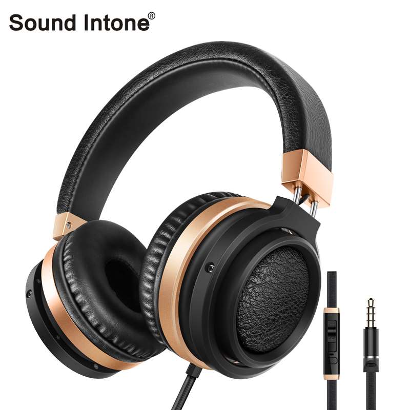 Sound Intone C9 wired headphones Stereo Bass Over-ear headset Volume Control cuffia with microphone for mobile phones meelectronics atlas on ear headphones with inline microphone and universal volume control