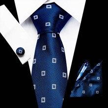 46Colors 100% Silk Tie Set for Men Plaid Necktie Sets Cuffli