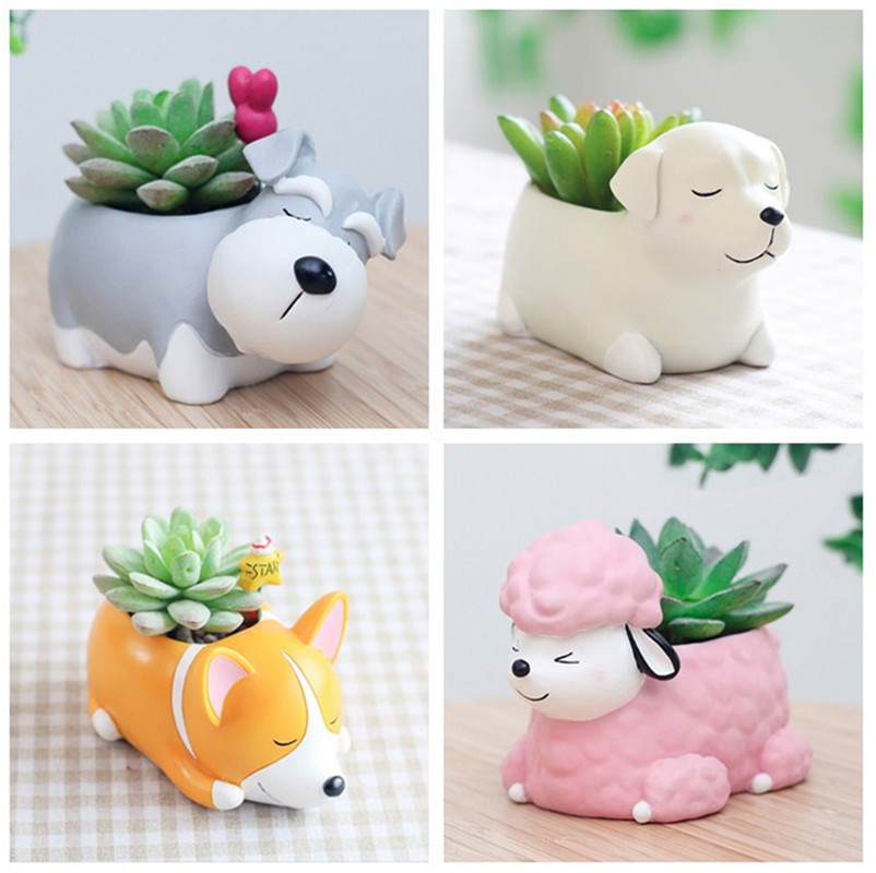 Creative Flower Pot Cartoon Dog Planter Puppy Resin Planters Pots For Flowers Flower Desktop Macetas Home Garden strawberry grow bag gardening flower pot planting bag living indoor wall planter garden tool