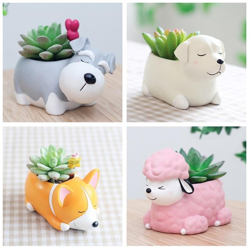 Creative Flower Pot Cartoon Dog Planter Puppy Resin Planters Pots For Flowers Flower Desktop Macetas Home Garden