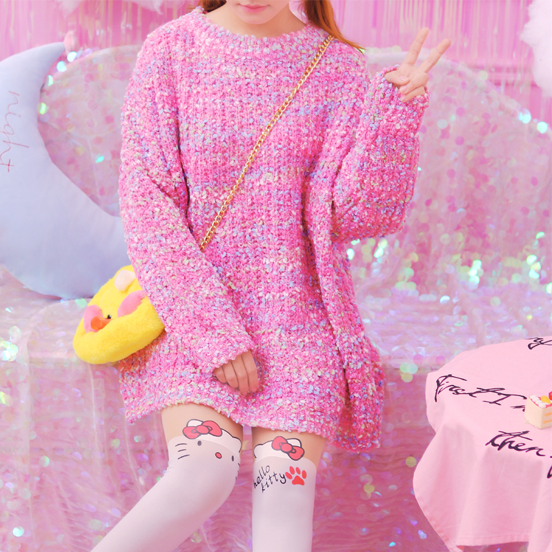 Princess sweet lolita sweater winter loose sleeve head in the long section of thick line sweater sweet and cute sweater KMY35