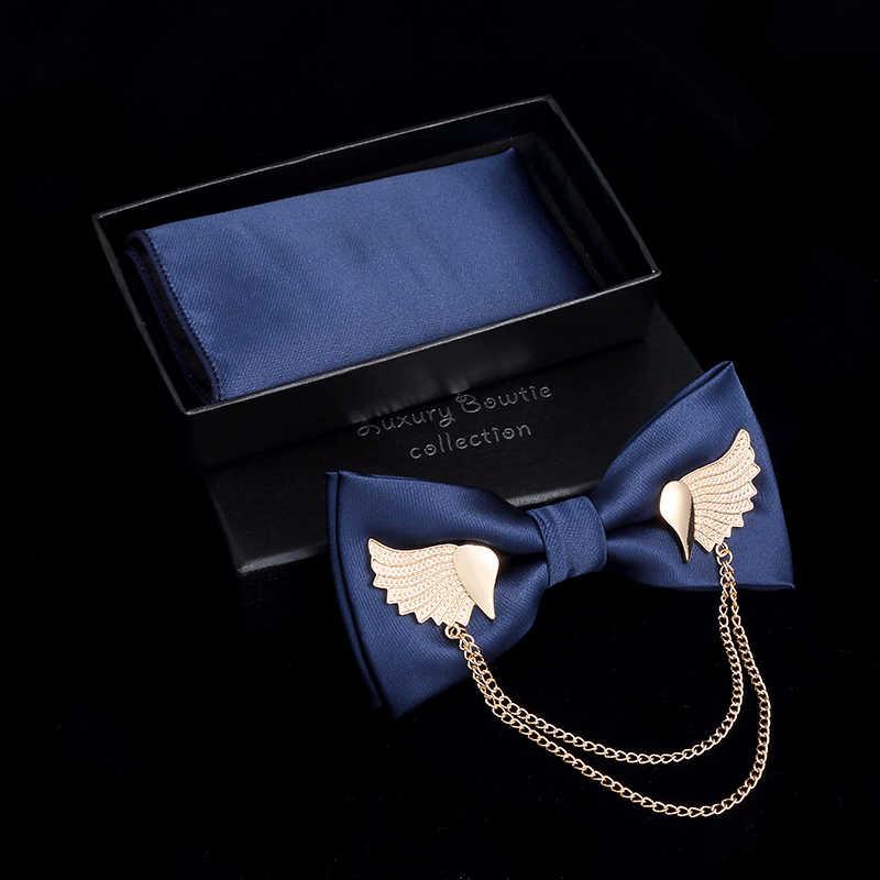 JEMYGINS orijinal Metal altın kanatları iki katmanlı boyun papyon katı papyon erkek moda ayarlanabilir papyon cep kare kutu seti
