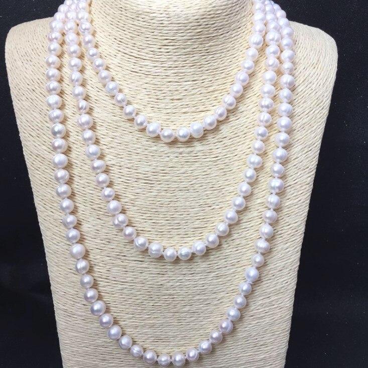 5e9d21acbd08 REAL perla perlas 9mm tamaño 100% Real cultivadas de agua dulce largo collar  de perlas de moda para dama mujer regalo venta caliente