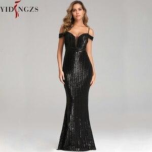 Image 5 - Сексуальное длинное вечернее платье YIDINGZS с блестками, вечернее платье с открытой спиной, золотистое/серебристое/черное YD9612