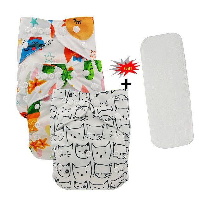 Ohbabyka Reusable Nappies Couche Lavable Patterns Print Baby Cloth Diaper Cover Washable Baby Pocket Diapers+Microfiber Insert
