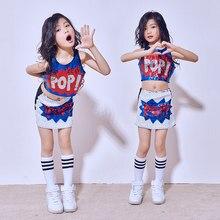 Hip Hop danza disfraces Girls Día de los niños grupos lentejuelas chaleco  falda Set trajes Jazz aae3da5b84d