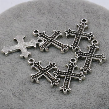 10PCS Lucky Cross Kaddish Accessories Copper Metal DIY Loose Finding Pendant Necklace Women Girl Jewelry Making Design 17x24mm image