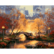 Central park in the fall DIY Painting By Numbers Acrylic Paint By Numbers HandPainted Oil Painting On Canvas For Home Decor