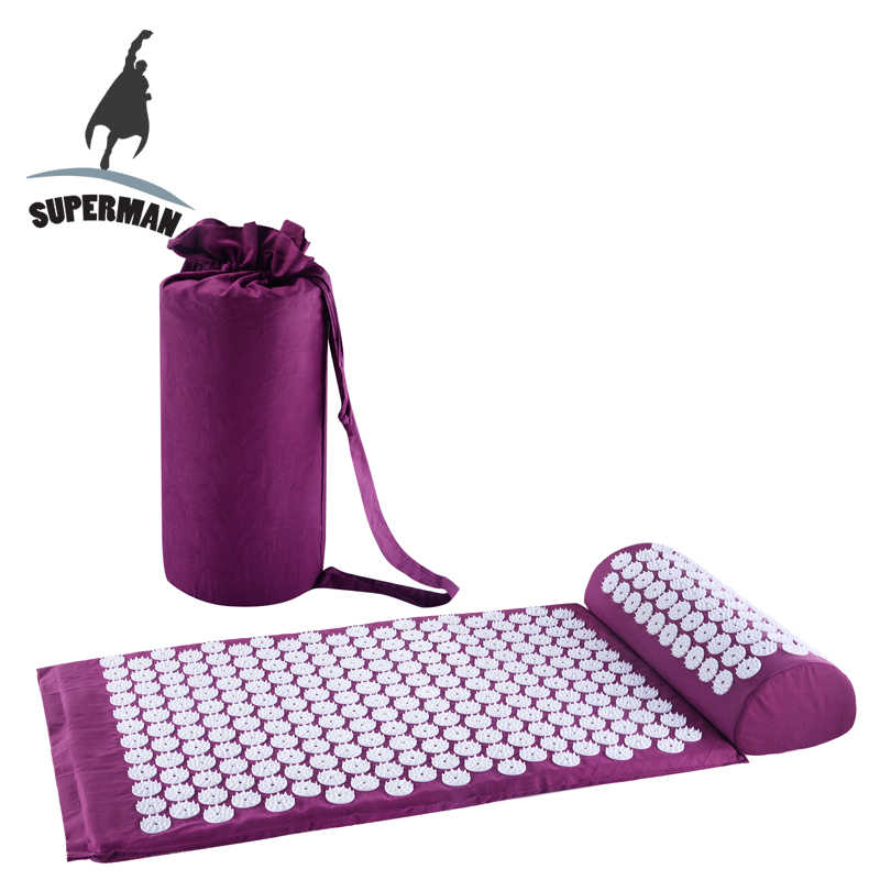 Estera de masaje de acupuntura de Superman conjunto de yoga tpe back body fitness cojín máquina shakti espalda Dolor alfombra de pie