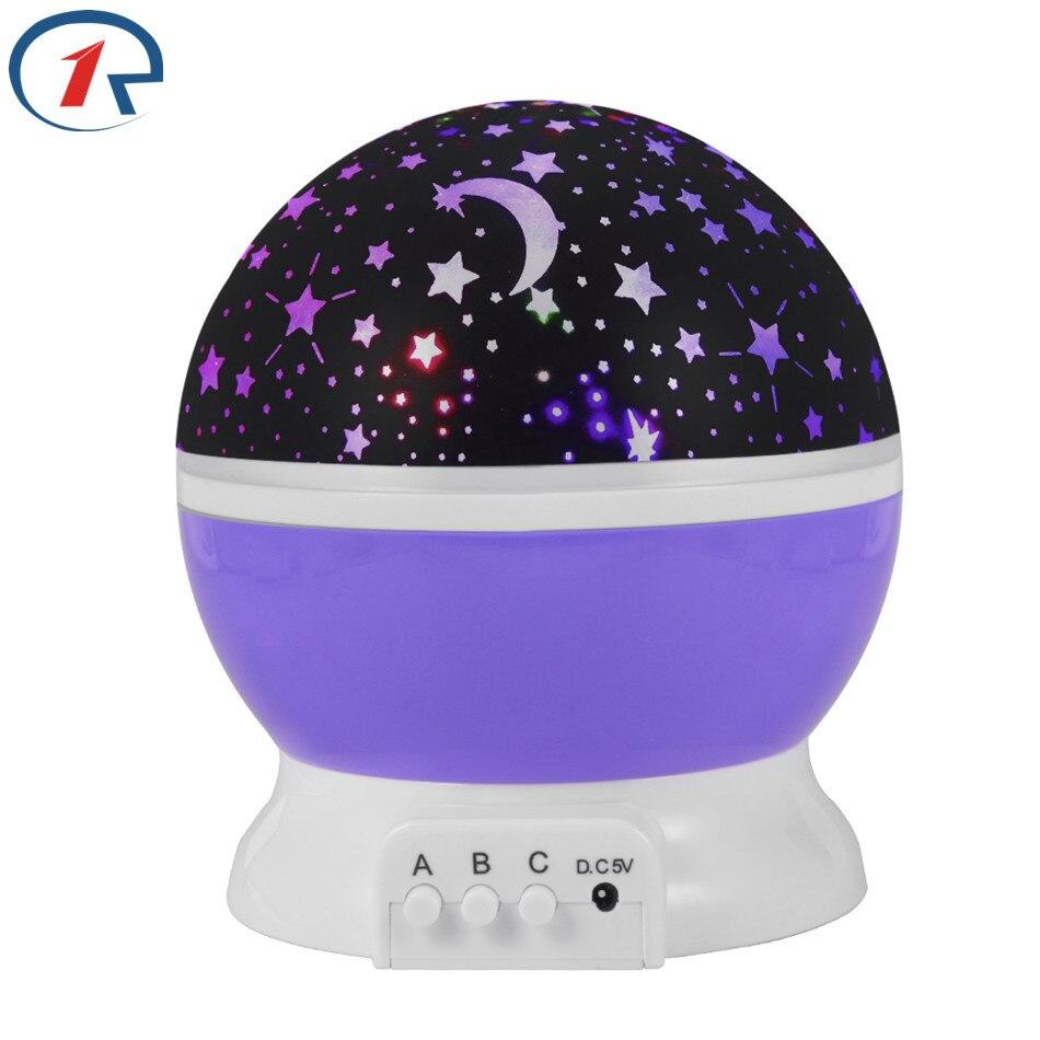 ZjRight RGB Stars Starry Sky LED Night Light Projector Luminaria Moon Novelty Table Night Lamp Battery USB Night lights For baby
