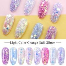 Четыре лилии лазерные узоры для ногтей с блестками Мерцающая Снежинка изменение цвета освещения ногтей УФ лак для ногтей с блестками лак цвет красочный блестка украшения