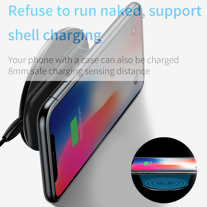 Image 5 - Baseus 10W Qi Wireless Charger for iPhone X/XS Max XR 8 Plus Visible Element Wireless Charging pad for Samsung S9 S10+ Note 9 10-in Mobile Phone Chargers from Cellphones & Telecommunications