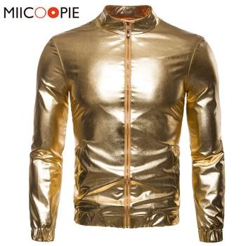 Fashion Men Nightclubs Gold Glossy Jackets Coats Men Women Casual Slim Thin Zippers Coat Silver Golden Hip Hop Bomber Jacket