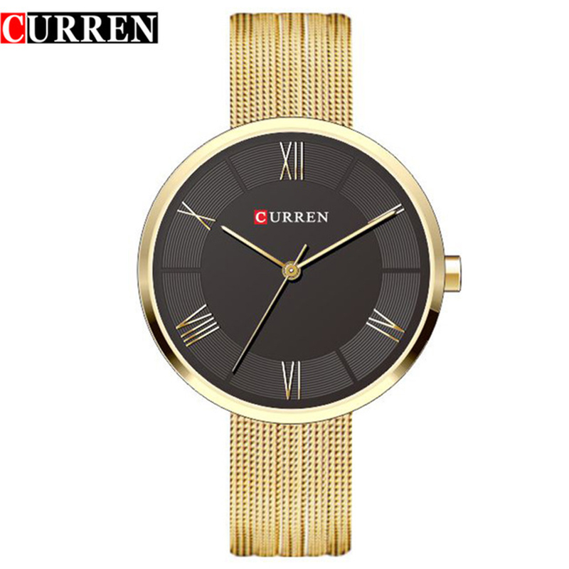 CURREN Women Watches Top Brand Luxury Stainless Steel Mesh Band Gold casual Watch Ladies Business quartz watch Relogio Feminino цена