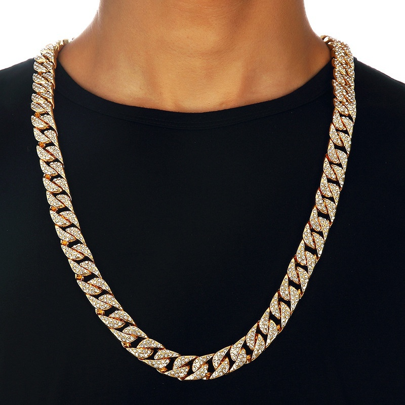 18-30 Miami Curb Cuban Chain Necklace For Men Golden Silver Hip Hop Iced Out Paved Rhinestones Cz Rapper Necklace Man Jewelry18-30 Miami Curb Cuban Chain Necklace For Men Golden Silver Hip Hop Iced Out Paved Rhinestones Cz Rapper Necklace Man Jewelry