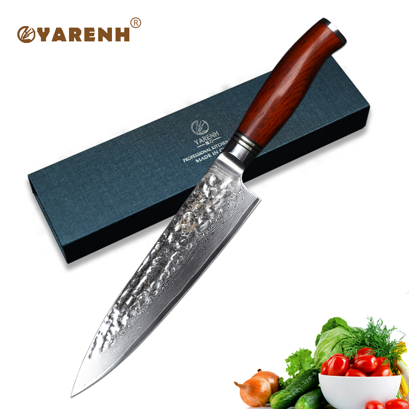 YARENH 8 inch Chef Knife Damascus Stainless Steel Carving Knives Gyuto Knife professional Japanese VG10 best