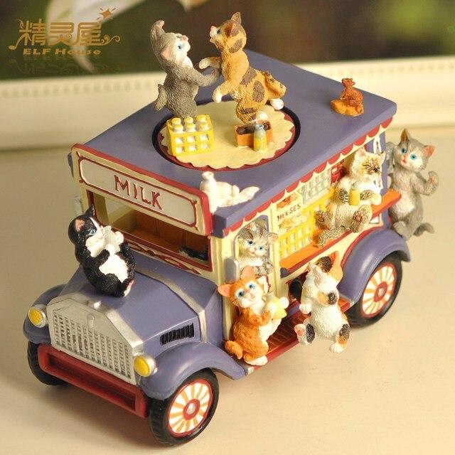 Creative Unusual Boyfriend Girlfriend Birthday Gifts Cat Milk Car Music Box 201916cm